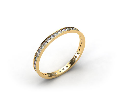 18k Yellow Gold .26ct Pave Diamond Eternity Band